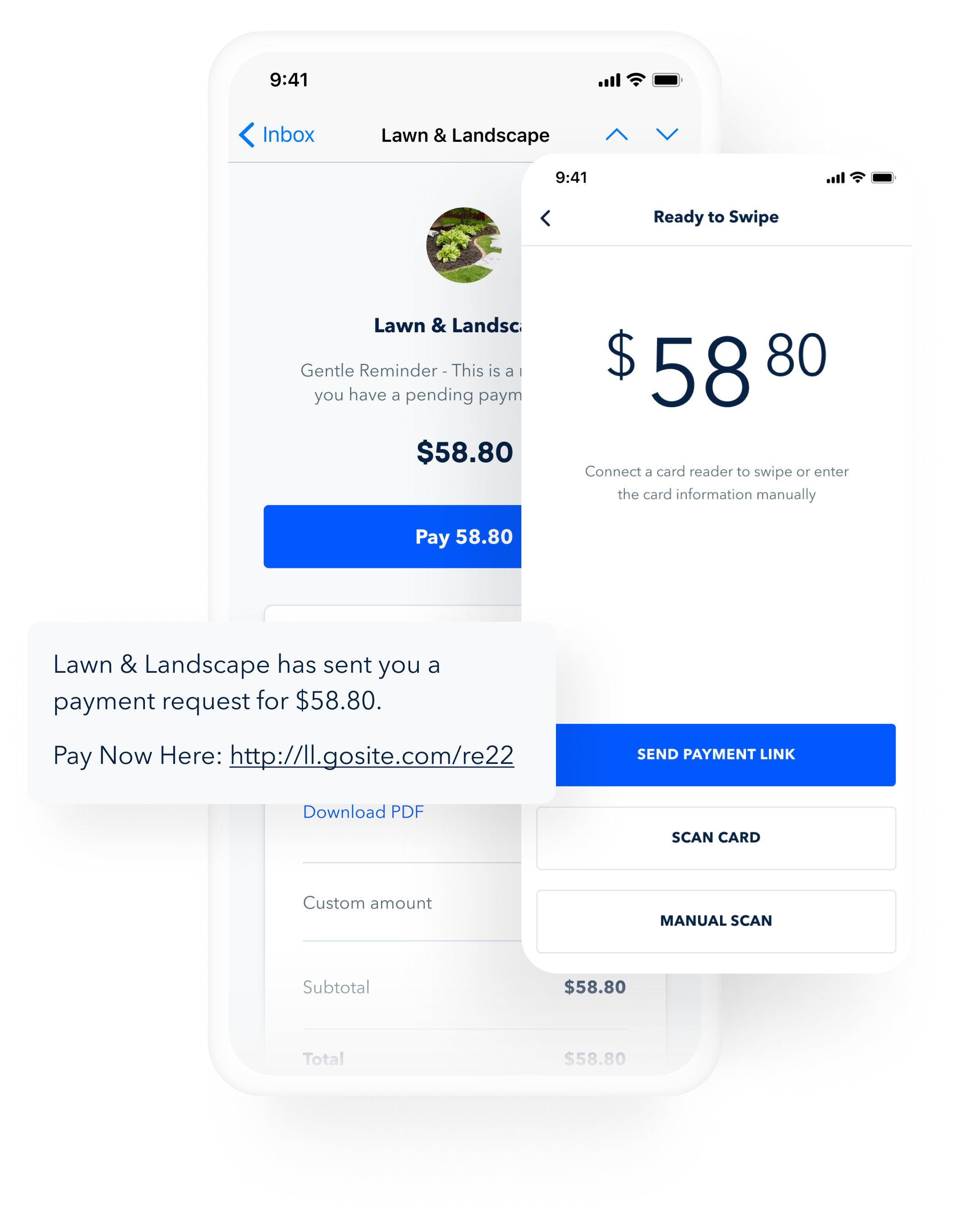 GoSite's payments tool